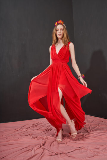 red-long-dress