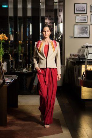 blazer with pom-pom details