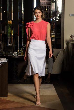 coral asymetric top, white linen skirt