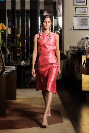 magenta silk dress