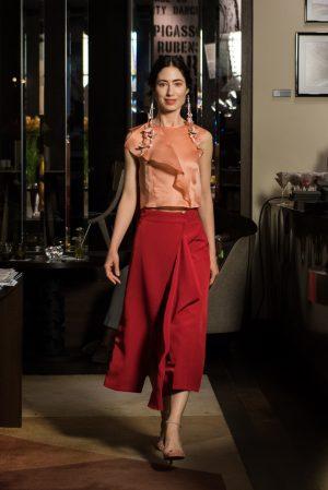 silk top, red skirt