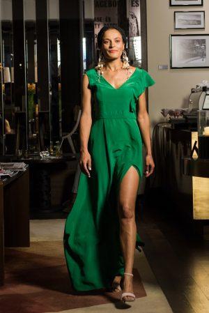 Green silk asymetric dress