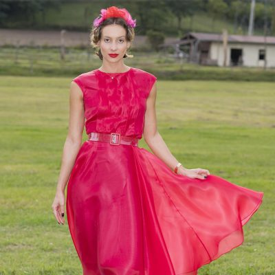 RASPBERRY SILK ORGANZA DRESS