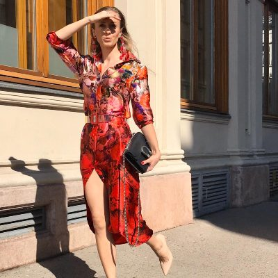 RED FLORAL SILK SHIRT DRESS