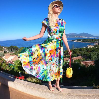 ABSTRACT VIBRANT SILK DRESS